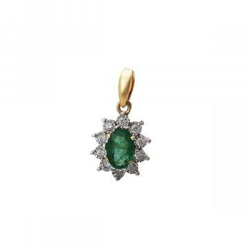 Přívěsek s brilianty a smaragdem 244-429-021975