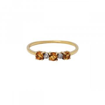 Prsten s brilianty a citríny 224-429-6816